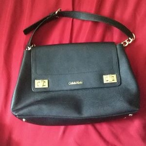 Calvin Klein black leather shoulder bag